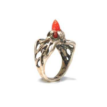 Brutalist Coral Ring