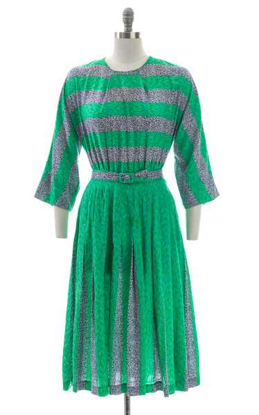 1950s Abstract Striped Pleated Skirt Dress | mediu
