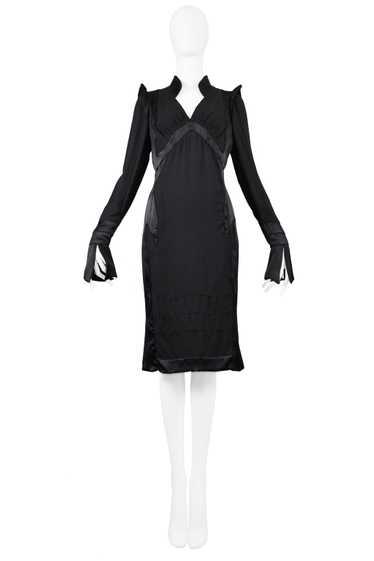 YSL BY TOM FORD BLACK SATIN MANDARIN DRESS 2004