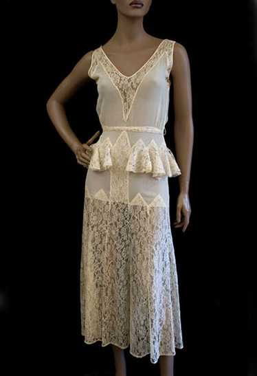 Silk chiffon & lace dress, 1930s