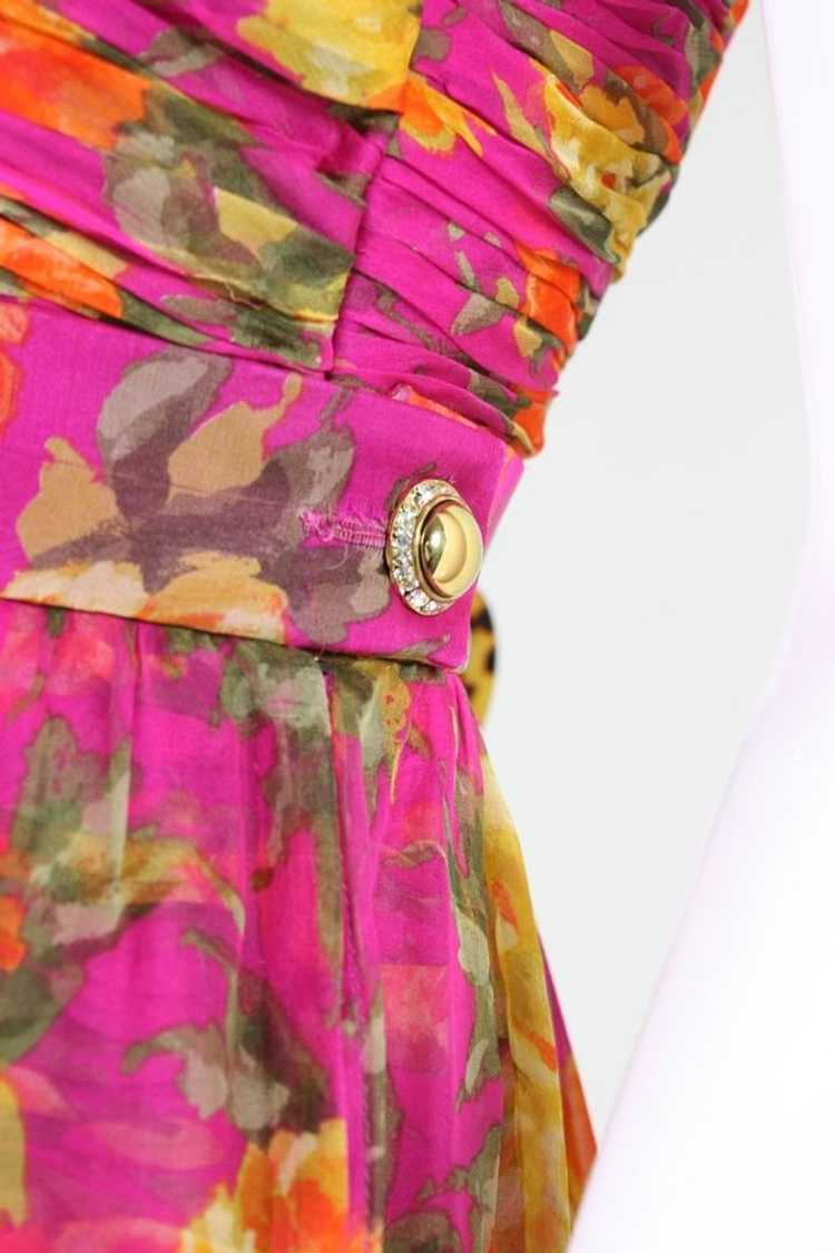 Valentino Cocktail Dress 1990's Floral Printed Si… - image 9