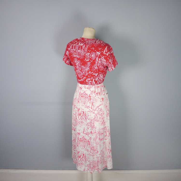 40s RED WHITE NOVELTY DRESS AND BOLERO IN PARISIA… - image 13