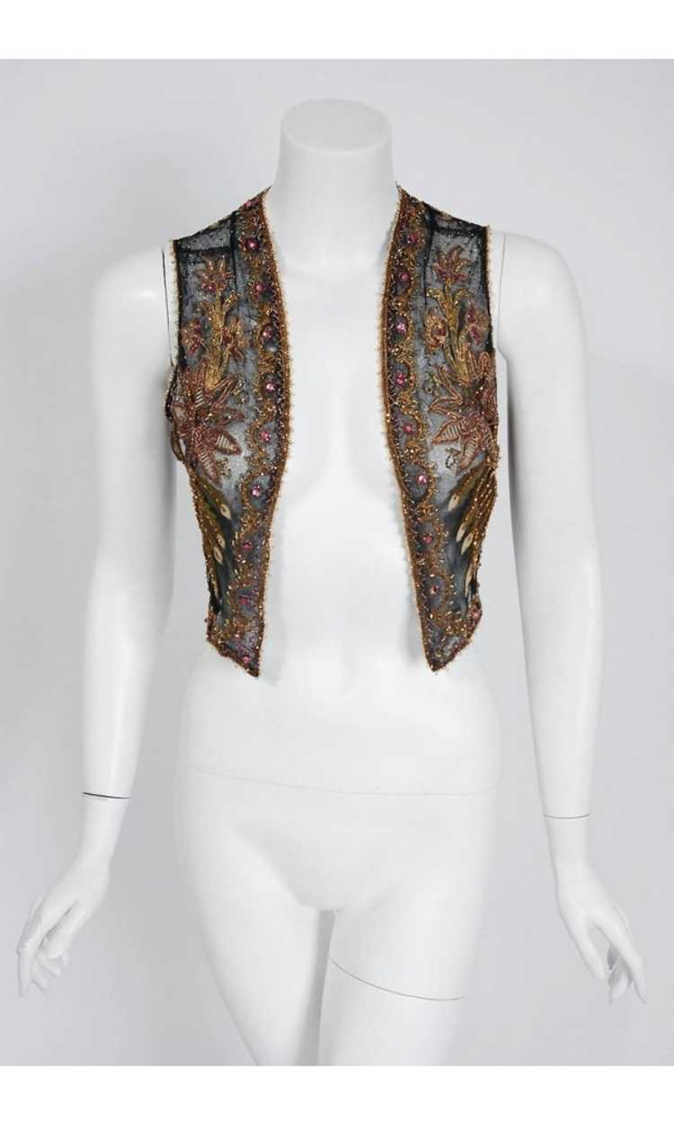 1910 Edwardian Antique Embroidered Beaded Floral … - image 2