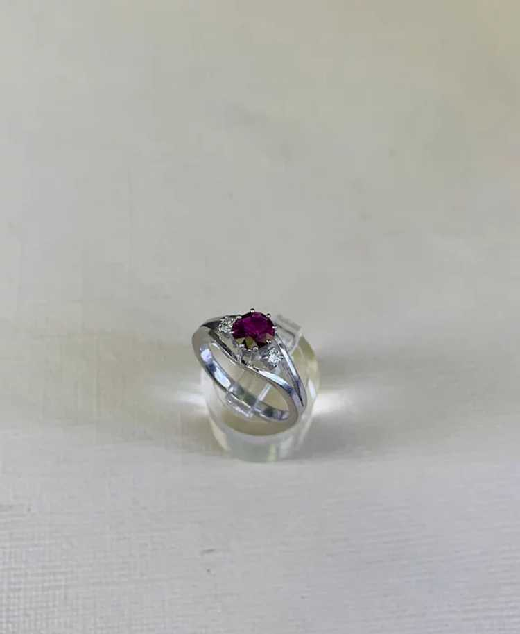 18k Gold Ruby Diamond Solitaire Ring - image 9