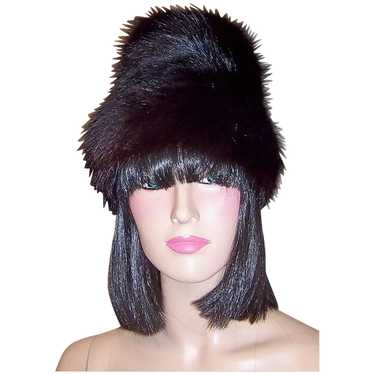 1960's Black Fox Fur Hat