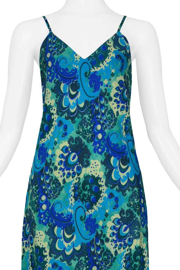 DRIES BLUE & GREEN FLORAL SLIP DRESS 1997 - image 3