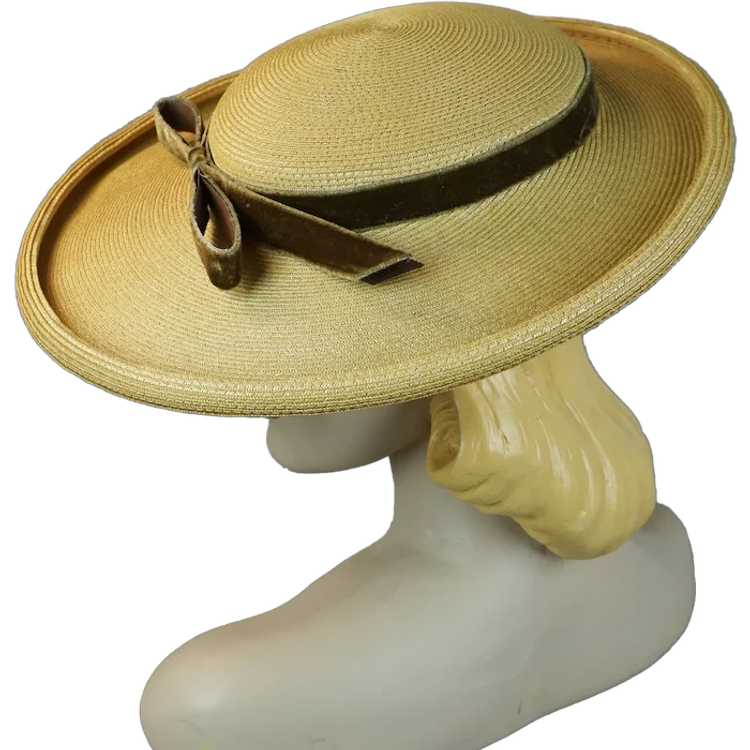 1950s Natural Straw Wide Brim Picture Hat - image 1