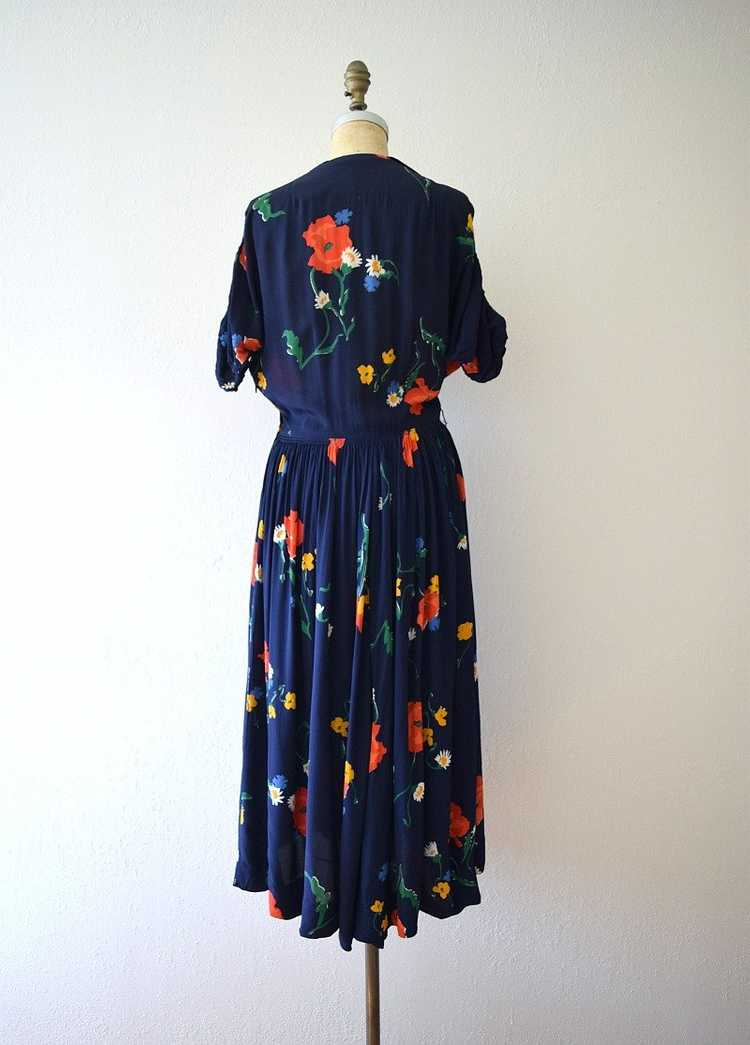 1940s rayon dress . vintage 40s floral print dress - image 3