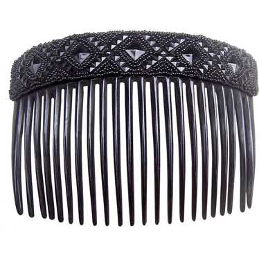 Victorian mourning hair comb French Jet hair acces