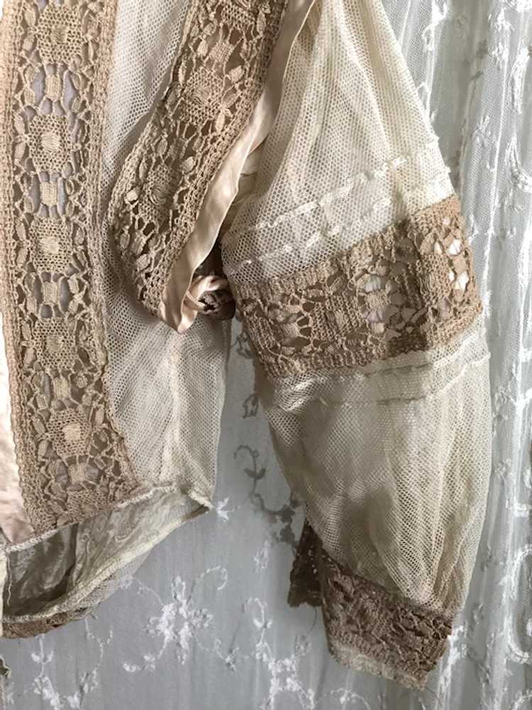 Antique 1890's Victorian Net Lace and Silk Bodice… - image 9