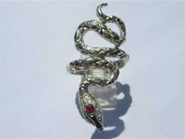 Sterling Silver Ruby Snake Ring - image 2