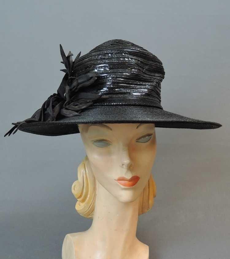 Vintage Wide Brim Hat, 1940s Straw & Shiny Vinyl,… - image 1
