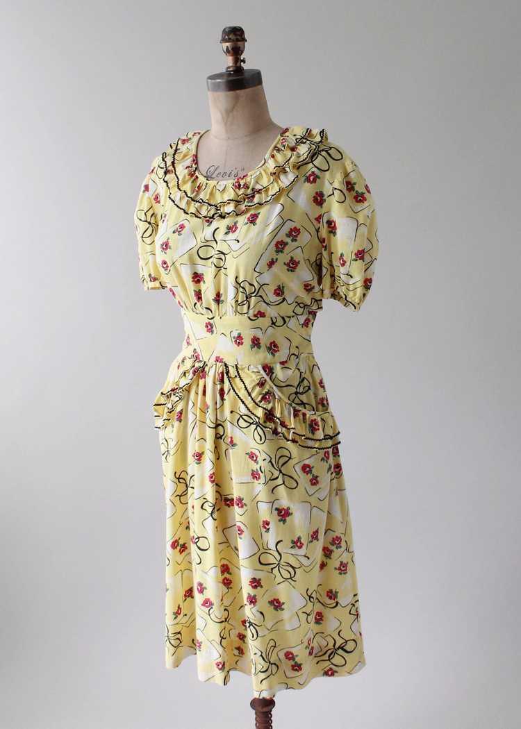 Vintage 1930s Yellow Novelty Print Cotton Dress - image 7