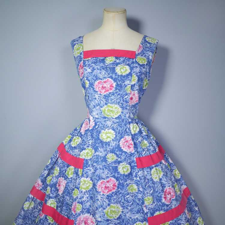 50s FEATHERY FLORAL BLUE COTTON DRESS WITH TIERED… - image 6