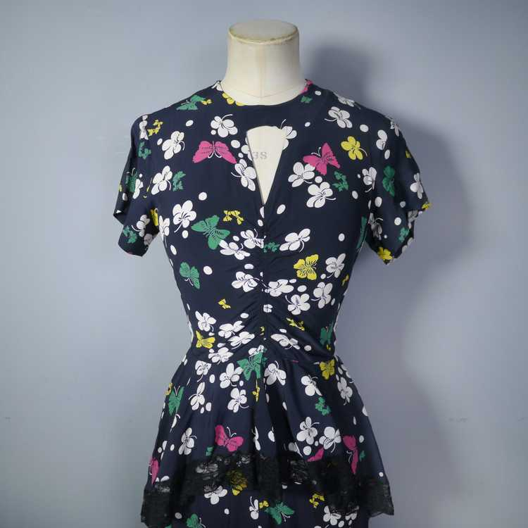40s BUTTERFLY PRINT RAYON DRESS WITH PEPLUM AND K… - image 5