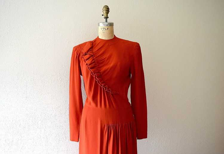 Red 1940s dress . vintage 40s ruffled rayon dress - image 4
