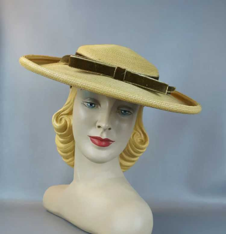1950s Natural Straw Wide Brim Picture Hat - image 2
