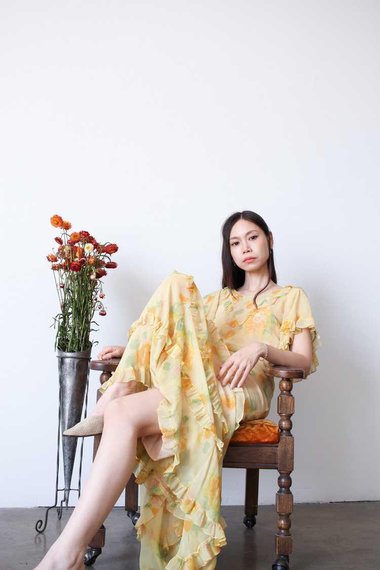 1930s Chiffon Silk Yellow Floral Dress w/ Bolero - image 11