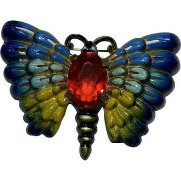 Celluloid Rhinestone Butterfly Pin