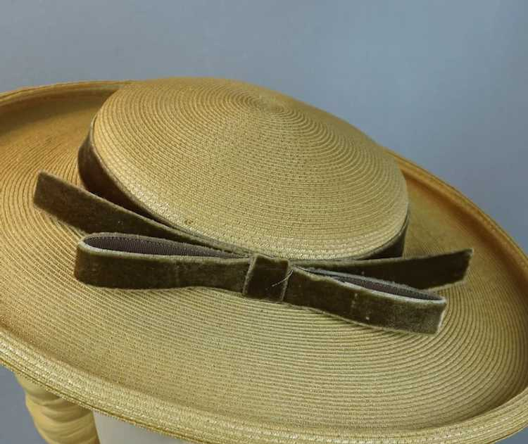 1950s Natural Straw Wide Brim Picture Hat - image 7