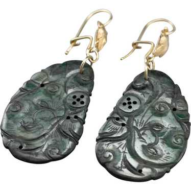 Botanical Carved Jade Drop Earrings