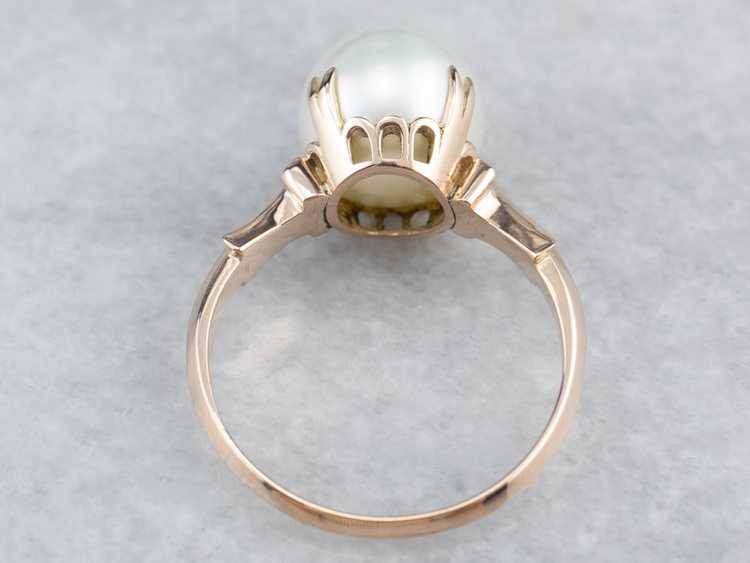Pearl Rose Gold Solitaire Ring - image 5