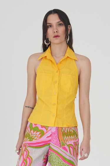 Vintage Yellow Moschino 90's Halterneck Pointed Co