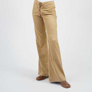 vintage deerskin bell bottoms 1970s suede lace up pants xs