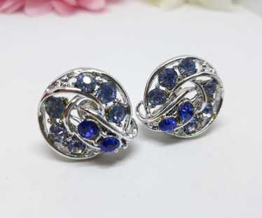 Crystal Blue Rhinestone Screw Back Earrings