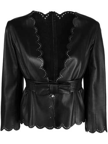 Valentino Pre-Owned scalloped belted leather jacke