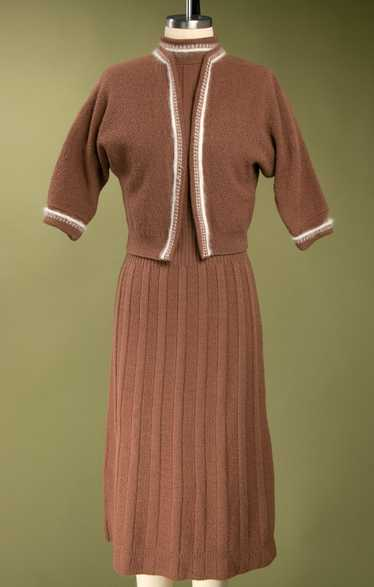 Vintage 1940's Brown Wool Knit Dress Set with Whit