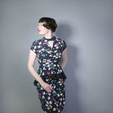 40s BUTTERFLY PRINT RAYON DRESS WITH PEPLUM AND K… - image 1