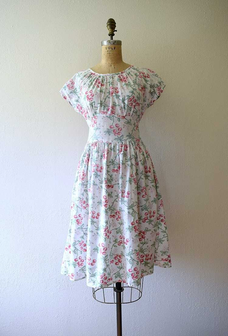 1940s cherry print dress . vintage 40s novelty pr… - image 2