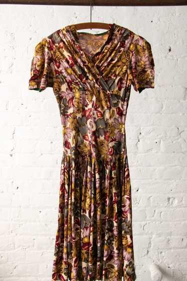 Vintage 1930's 1940's Rayon Jersey Floral Dress