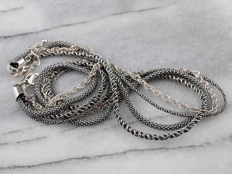 Sterling Silver Multi Strand Chain Necklace - image 4