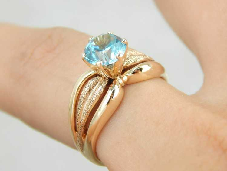 Blue Zircon Gold Solitaire Ring - image 5