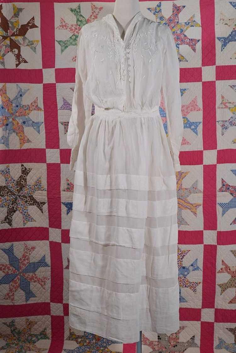 Antique Edwardian Lawn Dress, Embroidered Details - image 3