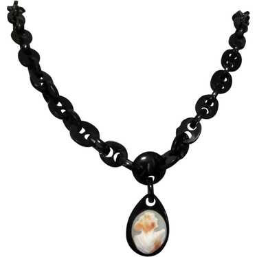 Whitby Jet Cameo Necklace, Victorian Mourning Jewe