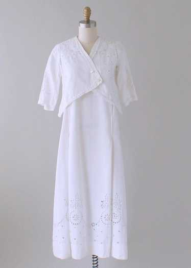 Antique 1910s Cotton and Lace Lawn Dress and Jacke