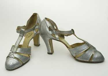 Silver kid evening shoes, early 1930s