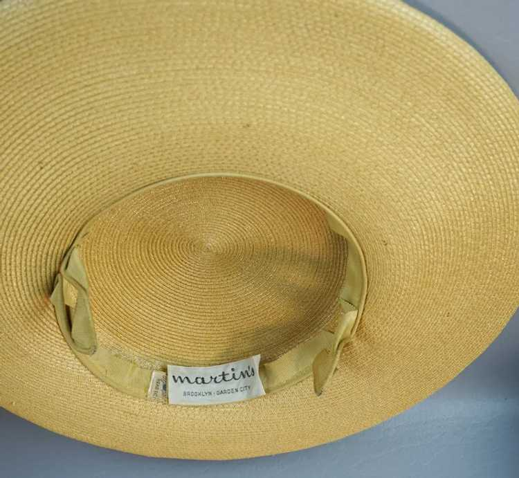 1950s Natural Straw Wide Brim Picture Hat - image 8