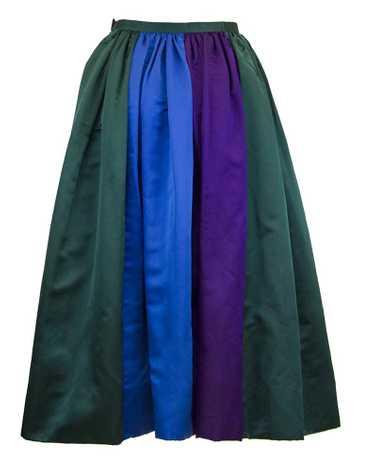 Duchesse Satin Color Block Evening Skirt