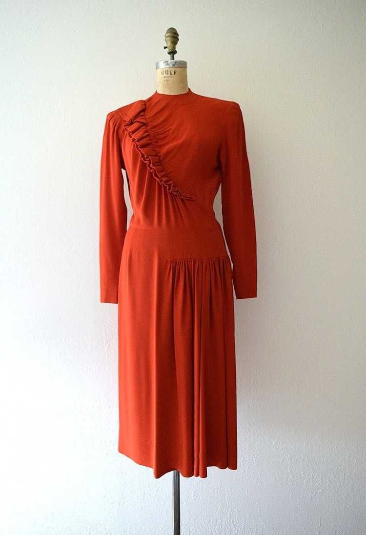 Red 1940s dress . vintage 40s ruffled rayon dress - image 2