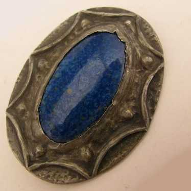 Arts & Crafts Ruskin Art Pottery Blue Stone Pewter