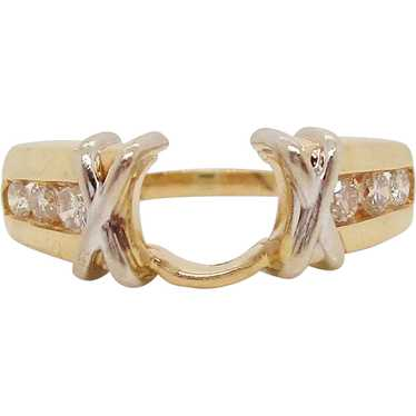 14 Karat Yellow Gold Channel Set Knot Detail Engag