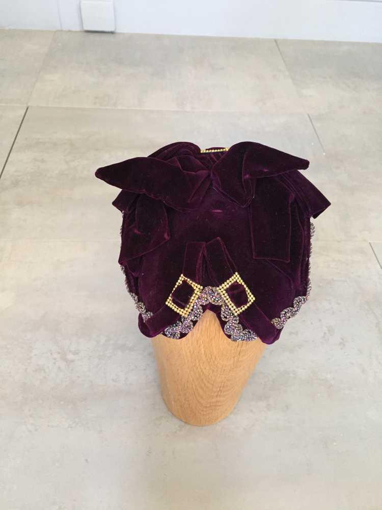 Purple Velvet Victorian Hat Bonnet - image 3