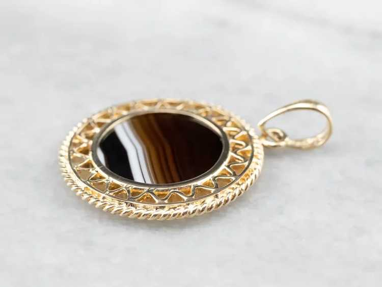 Mid Century Banded Agate Pendant - image 4