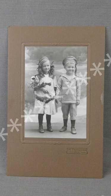 Vintage Edwardian Girl and Boy in Sailor Suit 1900