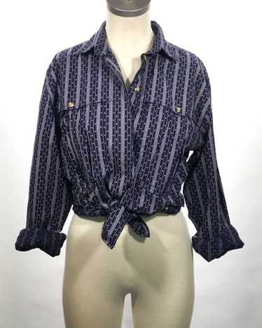 1980's Calico Long Sleeve Blouse