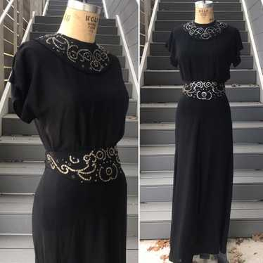 1940s Sheer Black Top + Skirt + Belt